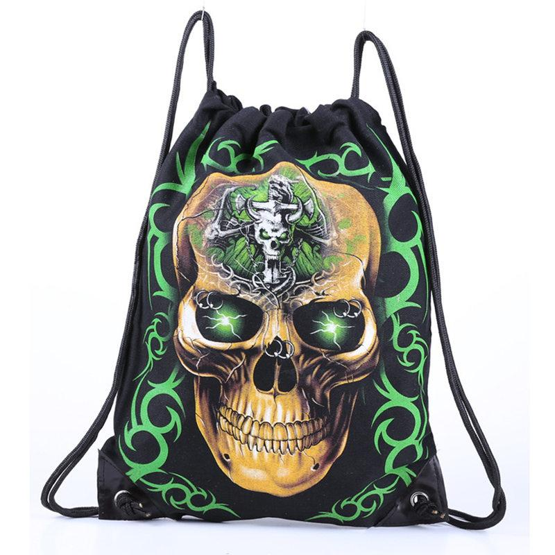 Skull Skeleton Gym Bags New Swimming And Sports Drawstring European Men Women Beach Backpack Shoes Bag