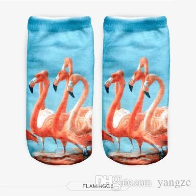 New Fashion Unisex Flamingo Pattern 3D Printed Women's Low Cut Ankle Short Socks CK1129