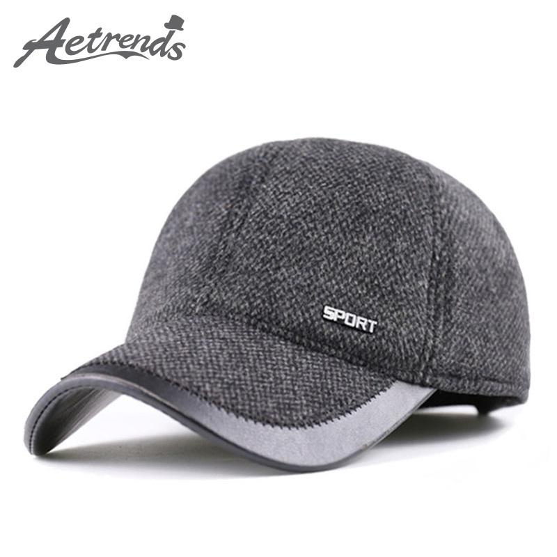 bfd4c086fc179 2019 Wholesale AETRENDS 2016 New Winter Woolen Hats For Men Russian Warm  Baseball Caps With Earflaps Z 3989 From Godefery