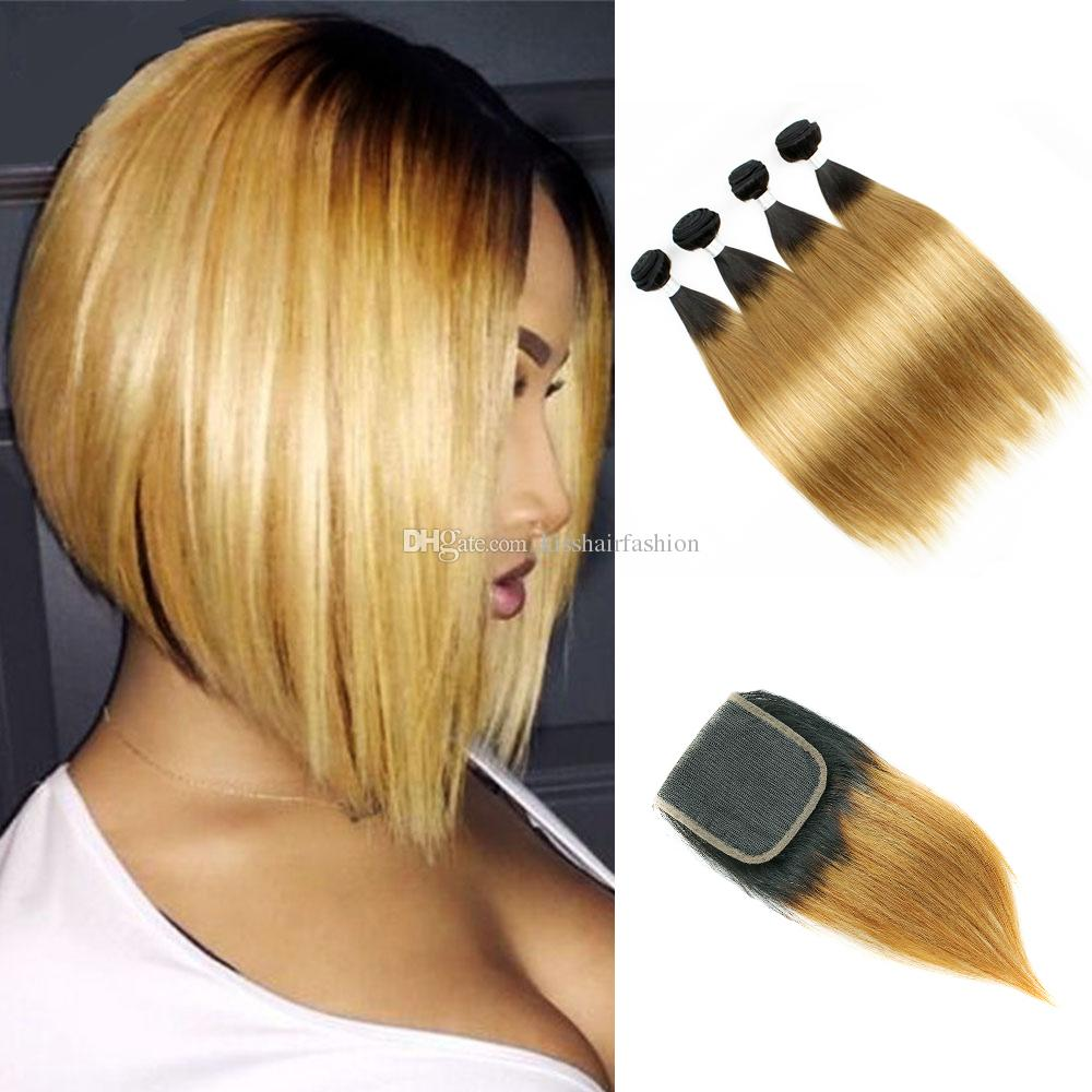 T1b27 Dark Root Honey Blonde Extensions Straight Ombre Human Hair