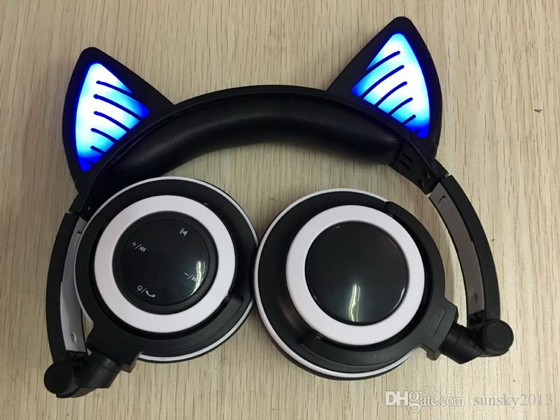 Bluetooth Flash Glowing Cat Ear Headphones LED Light Cute Foldable Headsets Sports Wireless Earphones Gaming Headband for Phone Laptop PC