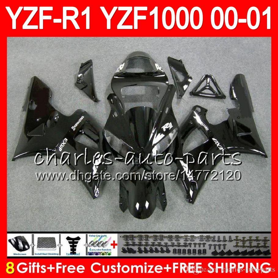 Kroppsarbete för Yamaha YZF1000 YZFR1 00 01 98 99 YZF-R1000 Body 74HM1 Glansig Balck YZF 1000 R 1 YZF-R1 YZF R1 2000 2001 1998 1999 Fairing Kit