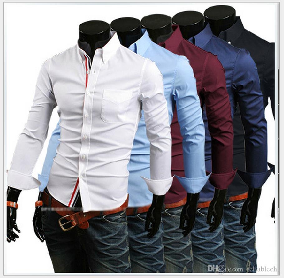 Chemise habillée simple boutonnage des hommes Patch coloré rayé tresse à manches longues à rabattre la conception des manches mens chemise d'affaires Livraison gratuite