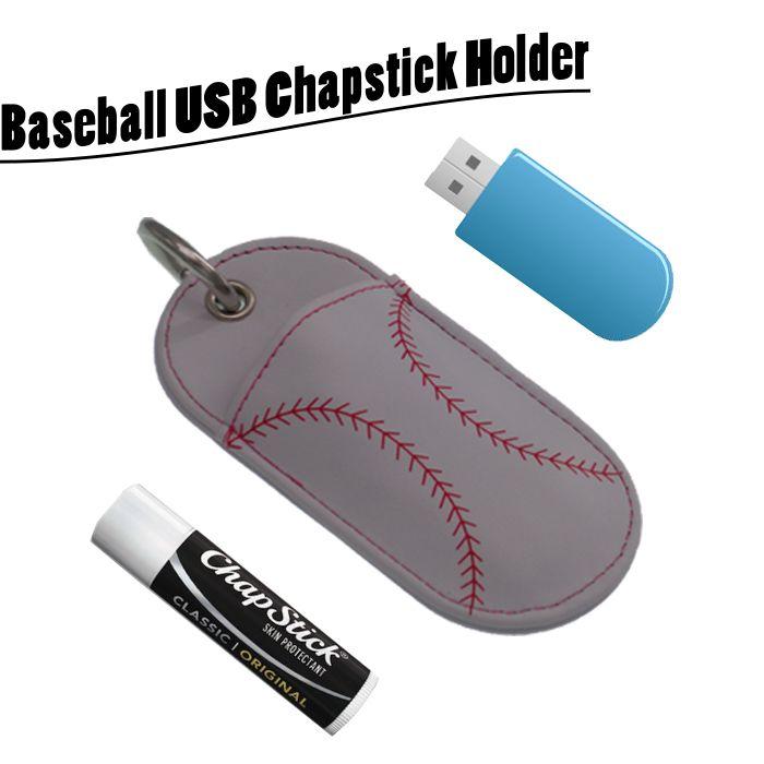 Portachiavi di titolari di cuoio Softball Chapstick in pelle