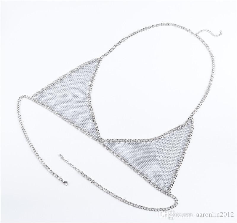 Женщины Сексуальная марка металла бюстгальтер раб тела цепи мода бикини пляж тела ювелирные изделия коренастый ожерелье партии bijoux живота цепи