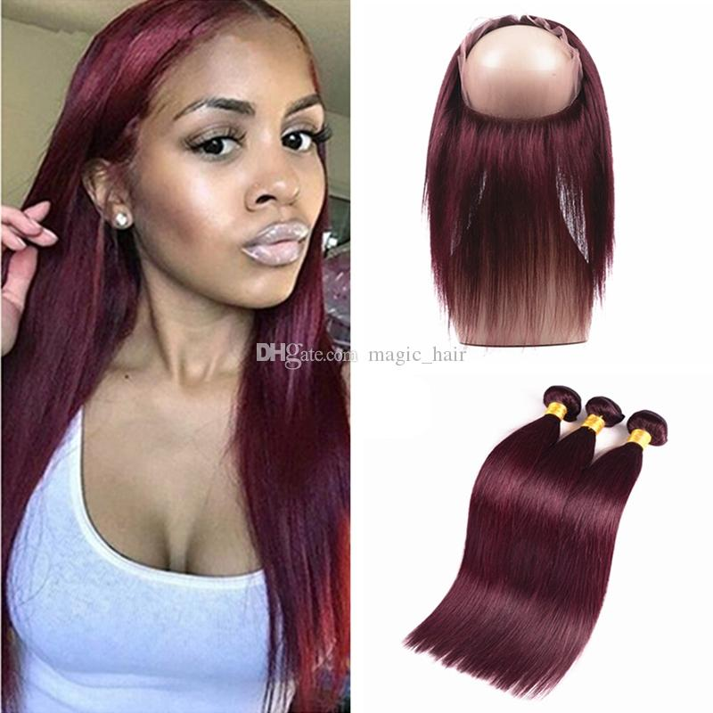 Hot Sale Wine Red Human Hair Weave With 360 Lace Frontal 99j