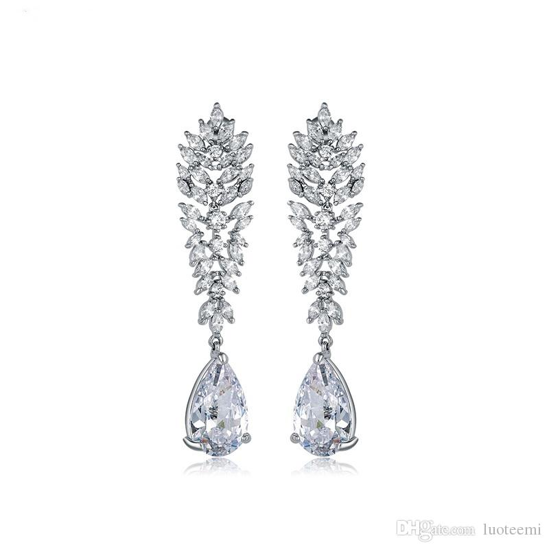Jewelry & Accessories Good Sparkling Water Drop Cubic Zirconia 925 Silver Earrings Big Cz Bridal Crystal Wedding Earrings For Brides Fashion Jewelry Brinco Stud Earrings