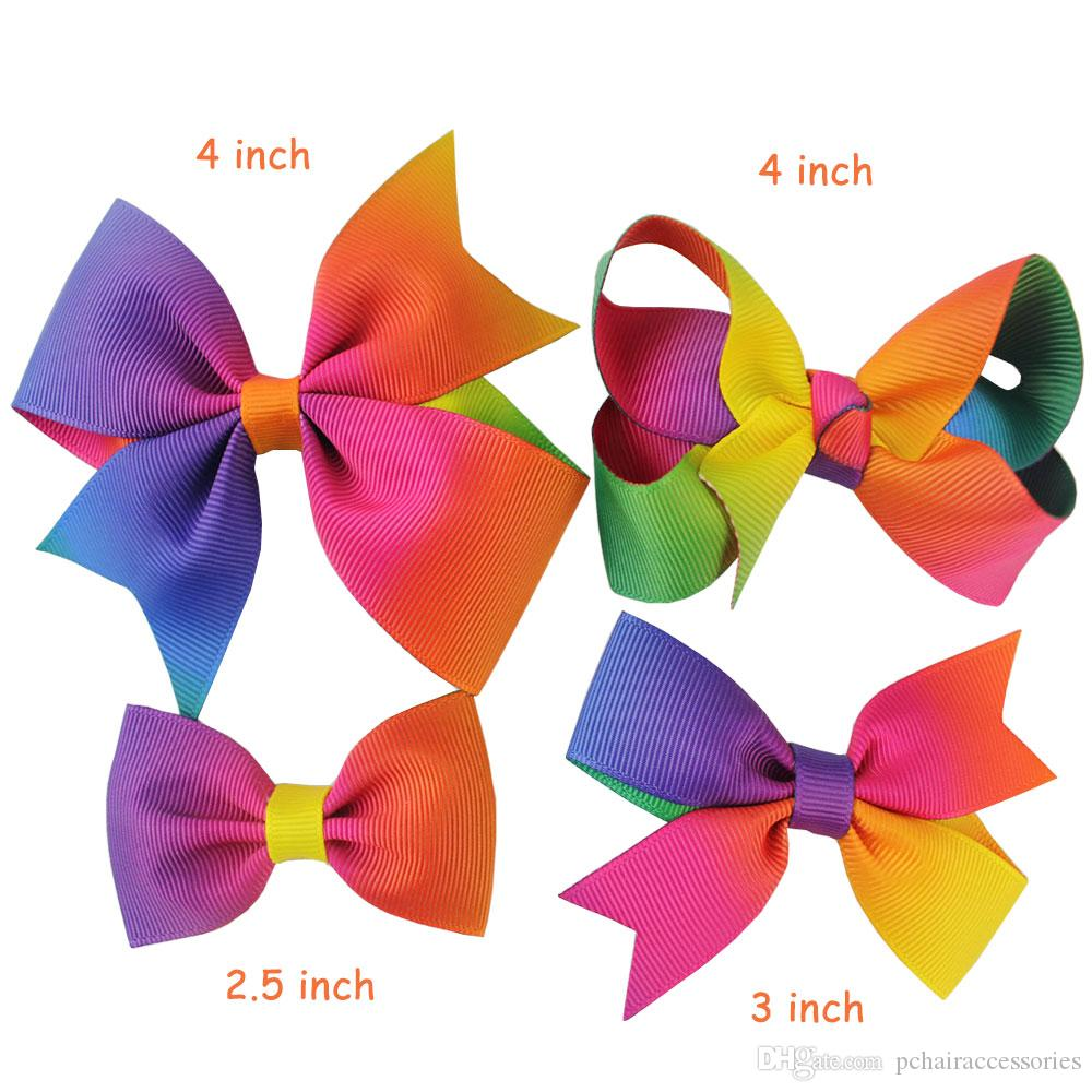 2.5 4inch Colorful Baby Rainbow Hair Bows With Clips Set ...