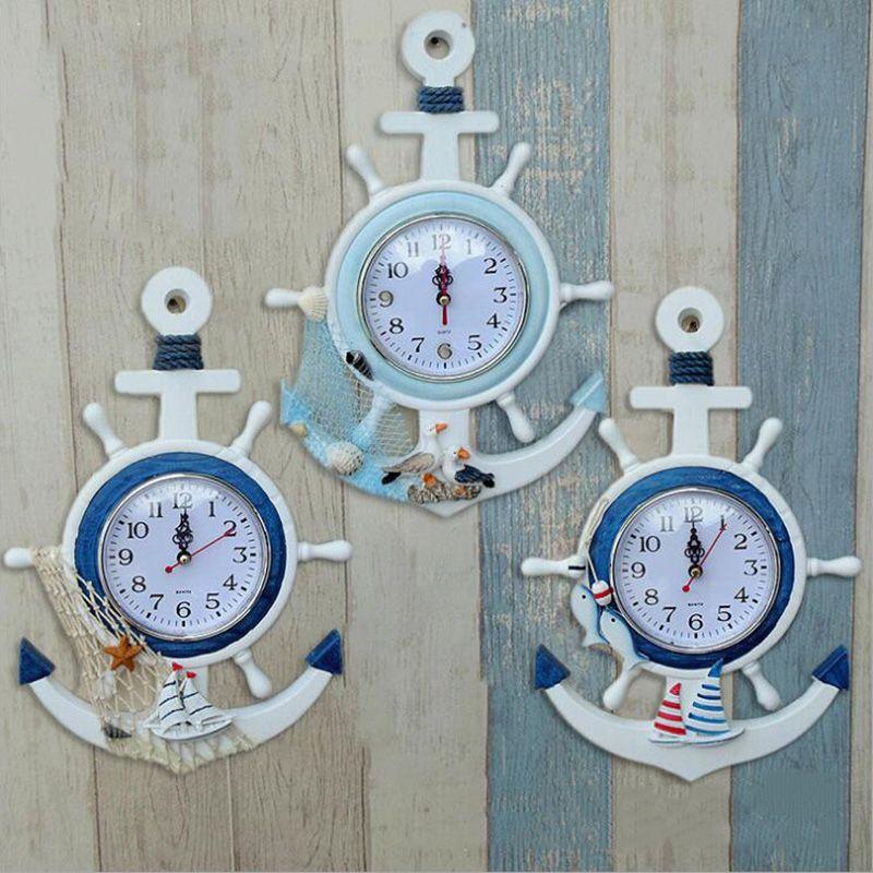 Delightful Wholesale Fashion Home Decor Mute Digital Watch Creative Retro Home  Decoration Mediterranean Sea Sailing Wall Clock Nautical Wall Clocks Neon  Wall Clock ...