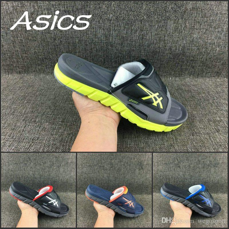 75813403a468 2019 2019 Wholesale Asics Slippers Shoes Men Women Shoes New Color Original  Black Blue Sandals Sport Indoor Discount Sneakers 37 45 From Wegosport