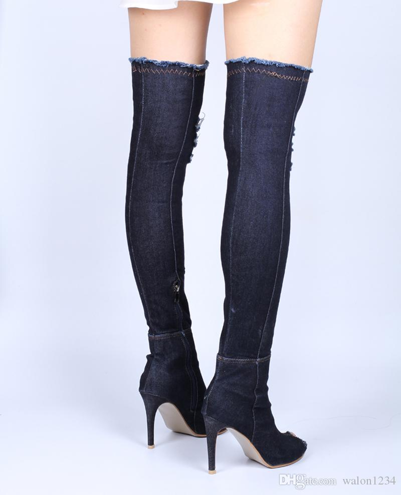 Heiße frauen stiefel sommer herbst peep toe über das knie stiefel qualität hohe elastische jeans mode stiefel high heels