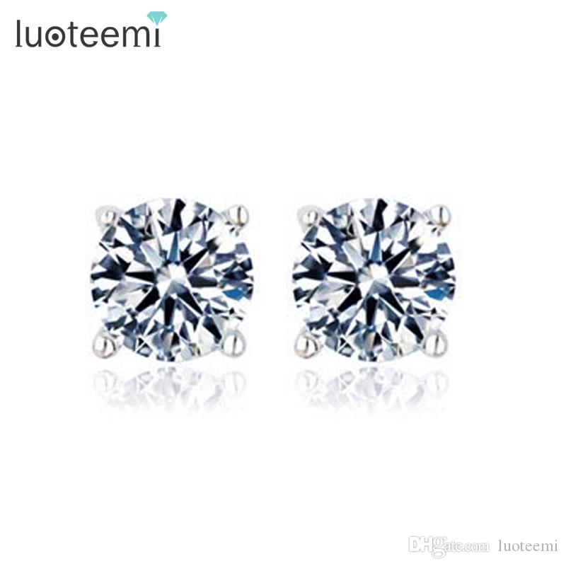 d9a0237f40 LUOTEEMI Simple Style High Quality 1 Carat 5mm Pure Clear Cubic Zirconia  Round Cute Earrings for Girls White Gold-Color Factory