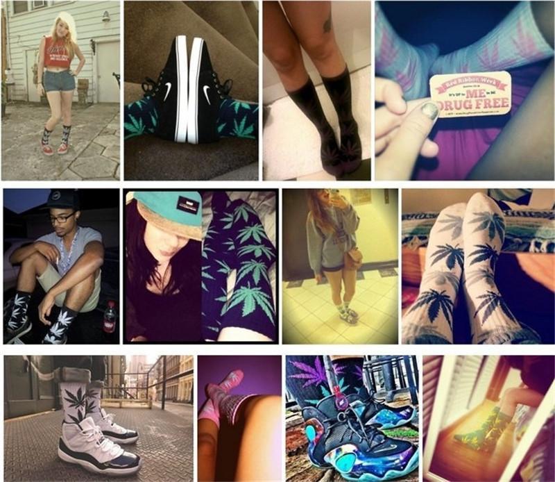 Мужские носки Hotsale Мужские носки Весна Осень Лето лодыжки 3D печать носки бамбуковые листья живопись Pattern хлопок носок ретро Harajuku улица NW02