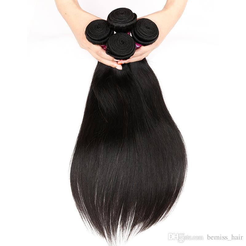 Cabello brasileño recto 4 paquetes con cierre de encaje 4x4 100% sin procesar 8A peruano de Malasia Camboyano indio mongol Extensiones de cabello