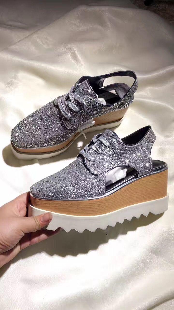 d95896222769 Stella Mccartney Glitter Sandals Women Fashion Wedge Shoes Cheap Sandals  Summer Sandals From Luischen