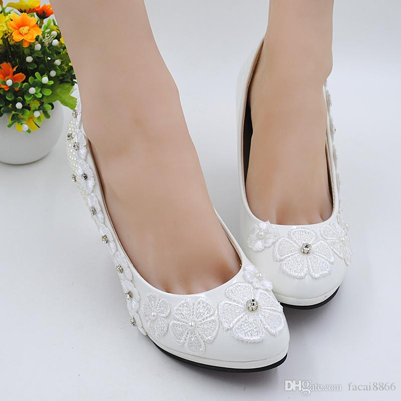 New shoes wedding pearl white princess shoes bridesmaid fairy's department During annual dinner performance shoes