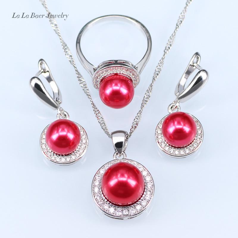 L&B New circles Freshwater pearl ball pendant long necklace women black chain fashion 925 Stamp silver Color jewelry sets