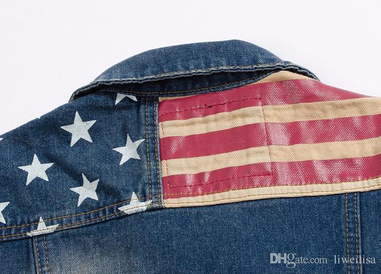 5XL Hommes Casual Denim Jeans Gilets Drapeau américain Veste sans manches Hommes multi Vest Pocket Cowboy Man Summer Slim Débardeur