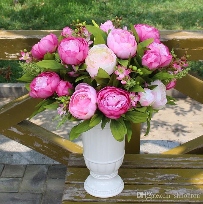 Belle pivoine fleur décoration de la maison Artificielle Pivoine Bouquet Fleurs Accessoires De Mariée Jardin En Vrac Coureurs 7 têtes de pivoine fleur