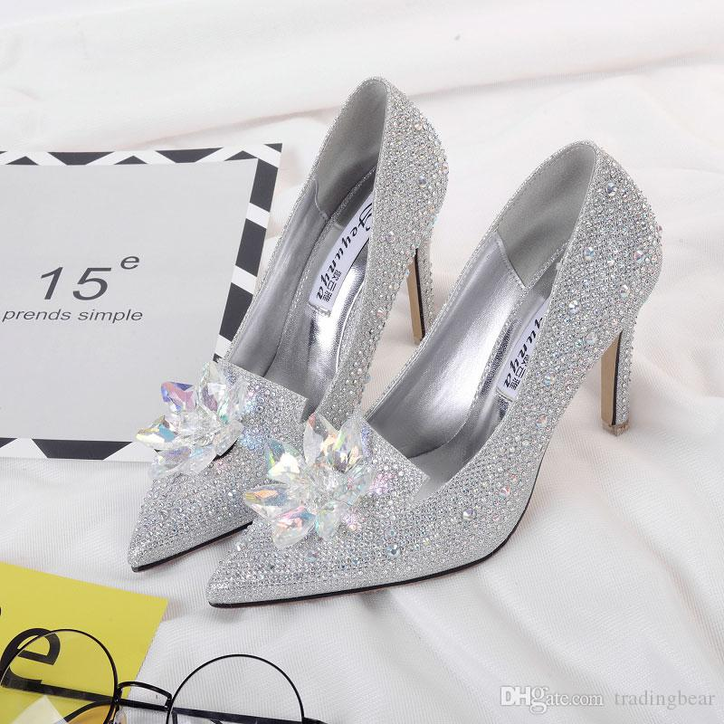 Cinderalla Crystal Shoes Rhinestone Wedding Shoes Silver Prom Gown Dress Shoes Size 34 to 39