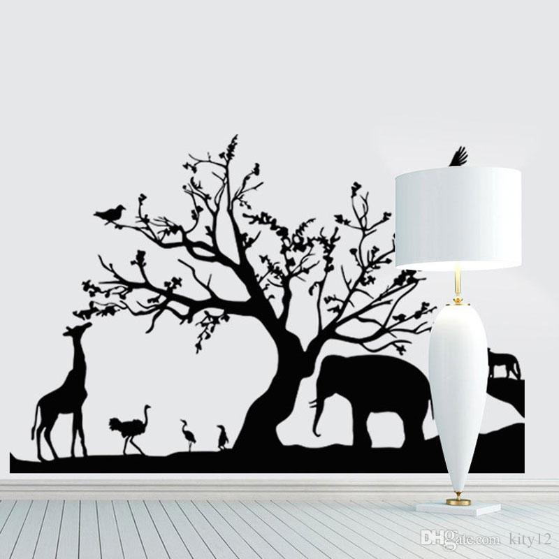 New Tree Elephant Giraffe Wall Stickers Cartoon Animal Wall Decals Art for Kids Nursery Room Home Decorations