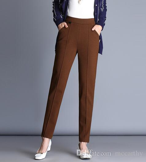 High waist autumn spring winter harem pants for women casual capris elastic waist black green trousers female slimming fzp0712