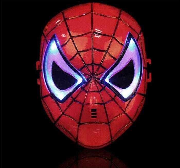 CALIENTE Máscara de Halloween cosplay Cara Completa LED Spiderman Americas Marvel Máscara de Luz Brillante Novedad Para Adultos y niños de dibujos animados luz JC181