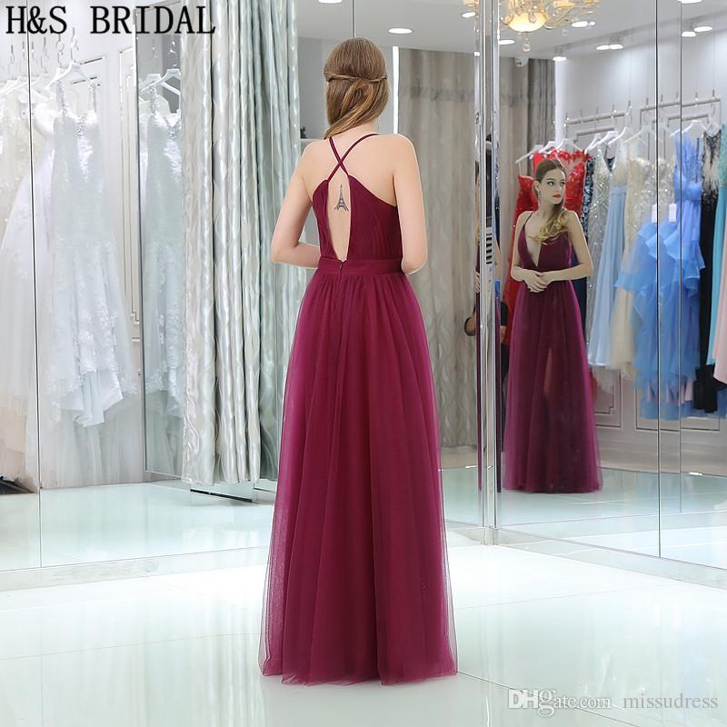 Mörk Röd Tulle Billiga Afton Klänningar V Nacke Tunna band Sexiga Burgundy Prom Party Gowns B015