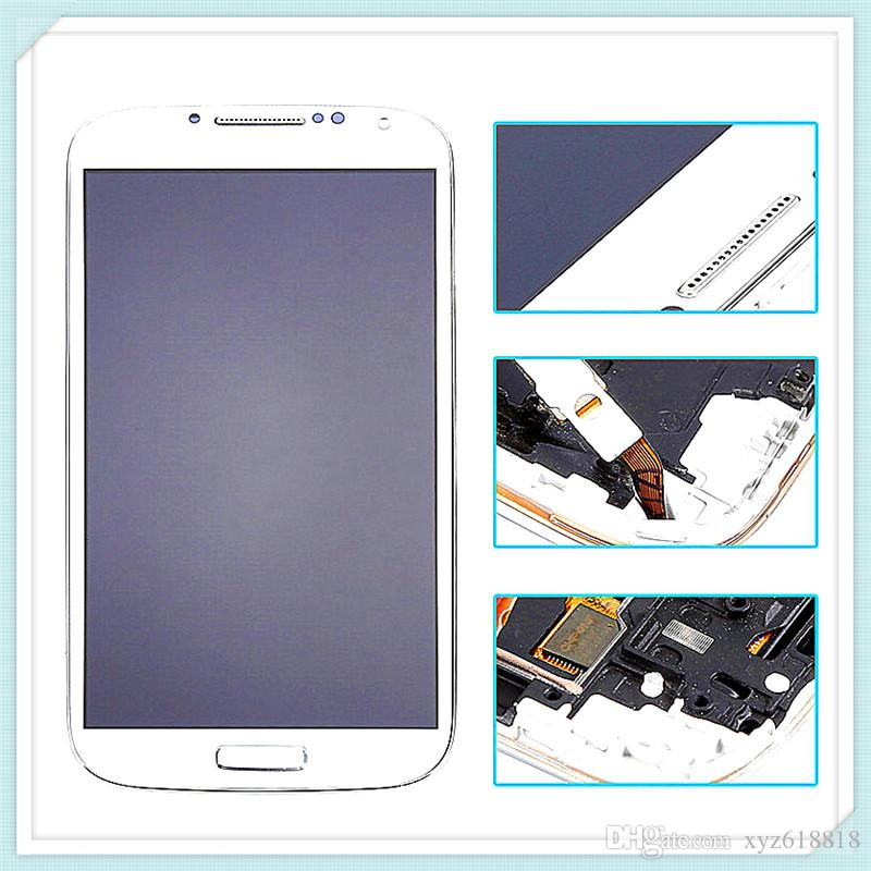Original LCD Display With Frame For Samsung Galaxy S4 SIV i9500 9505 I545 I337 LCD Touch Screen Glass Digitizer Assembly Blue White