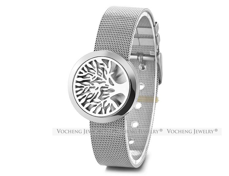 Ätherisches Öl Diffusor Medaillon Armband Aromatherapie 316L Edelstahl Uhrenarmband Baum 30mm Magnetic ohne Filzpads VA-299
