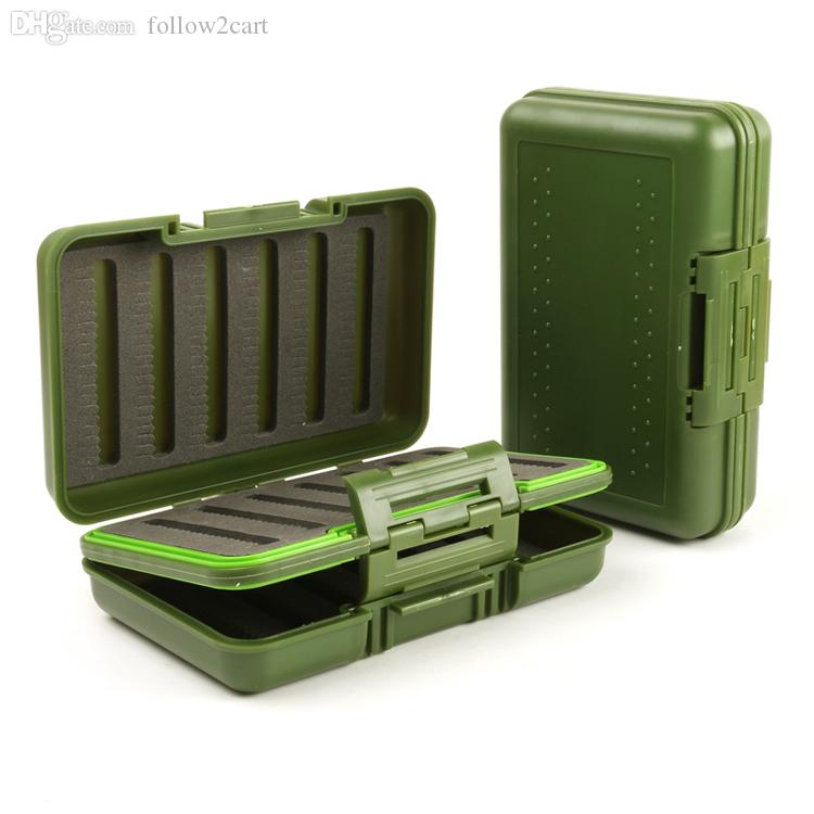 Waterproof Portable Size 149*96*44mm Plastic Fly Fishing Box Double Sided Foam Fly Boxes Tackle Case Dry Flies Fishing Fly Box Green