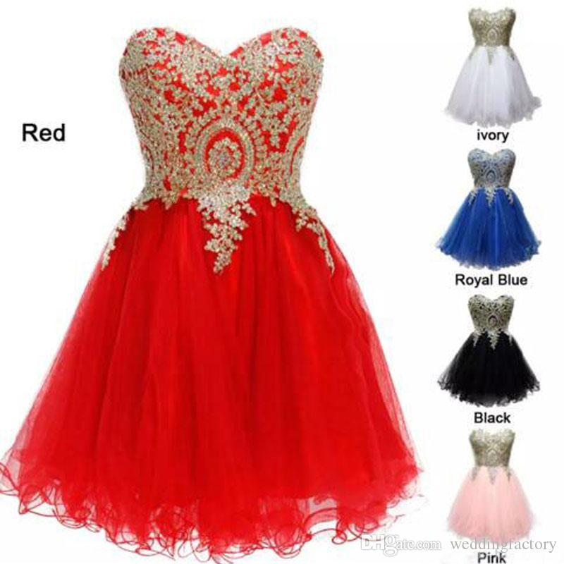 Kralen kristallen gouden kant applicaties korte homecoming jurken lieverd mouwloze kant-up rug rood wit roze zwart koningsblauw feestjurk