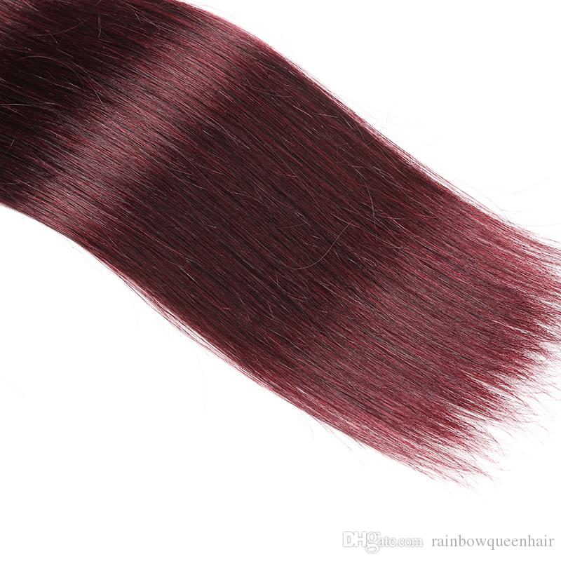 8A Brazilian Burgundy Straight Hair Cheap Pure Color #99J Virgin Hair Silky Straight Weaves 3Bundles Wine Red Human Hair Extensions