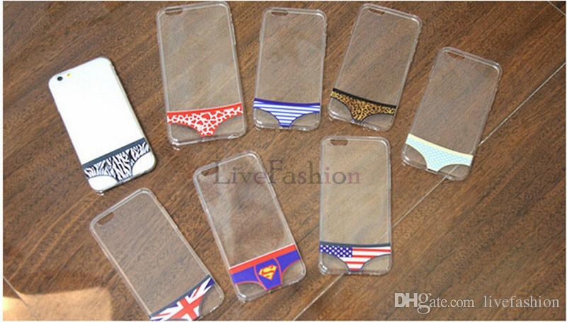 Fashion Unique Design Underwear Pattern Soft Clear Cell Phone Cases For iPhone Briefs 7 7 Plus 6 6s Plus 5S Lovers Couple Clear Phone Cover