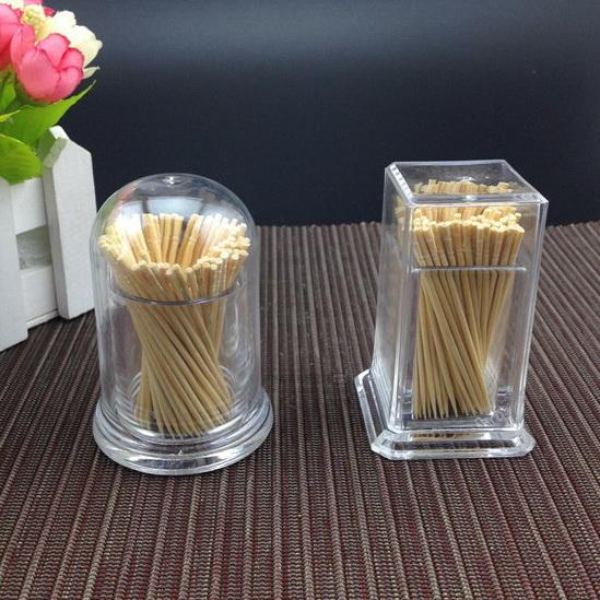 Wholesale- Transparent box round square plastic toothpicks dispenser high-grade refined cover toothpick holder