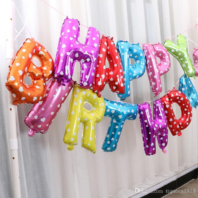 16 Inch Happy Birthday Balloons Letters Aluminum With Hanging Holes Lanyard Balloon Party Decoration Flower Sculpting