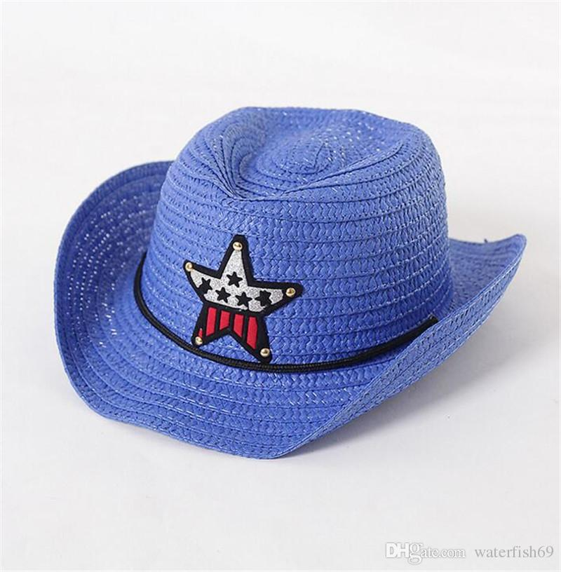 Solid Color Boys Girls Straw Fedora Hat Children Top Hat Topee Kids Summer Straw Sunhat Jazz Caps