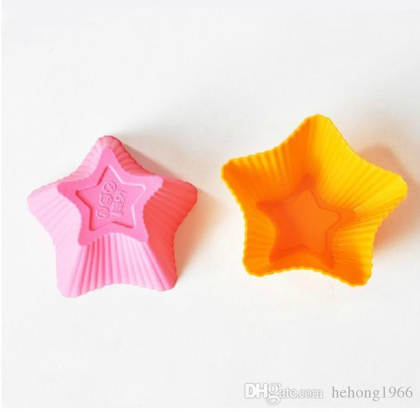 Silicone Cake Mould Five-pointed star Candy Color Multi Function Baking Tools Egg Tart Bread Pudding Cake Mold 6 8qt C R