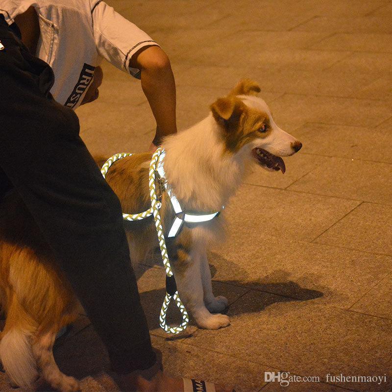 Ensemble de deux pièces pour animaux de compagnie chien Harnais et laisses pour chiens avec matériau réfléchissant 10 couleurs 3 tailles en gros livraison gratuite