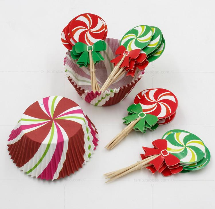 Christmas Cake Picks Cupcake Liner Decoration Muffin Decorating Cupcake Wrappers and Toppers for Christmas Party Supplies