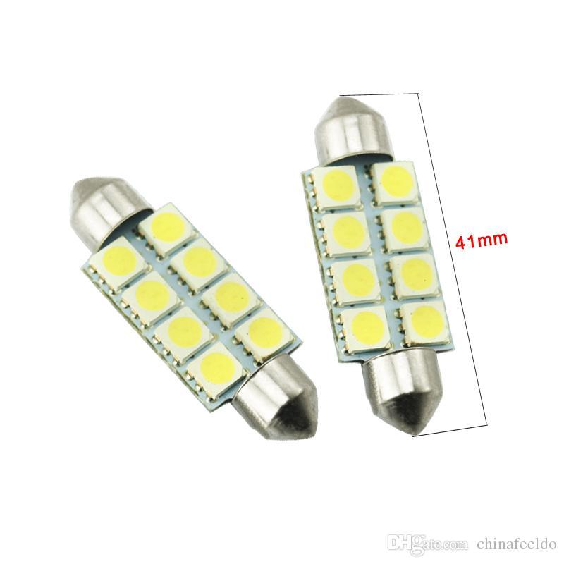 LEEWA Branco Auto Lâmpadas LED 31mm 39mm 41mm 5050 Chip 8SMD Carro Festoon Dome LED Reading Light # 3088