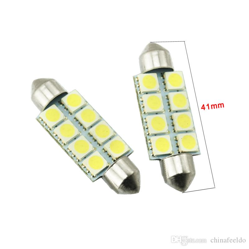 LEEWA 50 pz Bianco Auto Lampadine a LED 31mm 39mm 41mm 5050 Chip 8SMD Auto Festone Cupola LED Luce di lettura # 3088