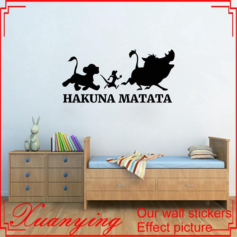 Hakuna Matata Wall Sticker Lion King Vinyl Decal Sticker Cartoons Wall Art  Kids Room Decor Housewares Bedroom Decor Cool Wall Decal Cool Wall Decals  From ...