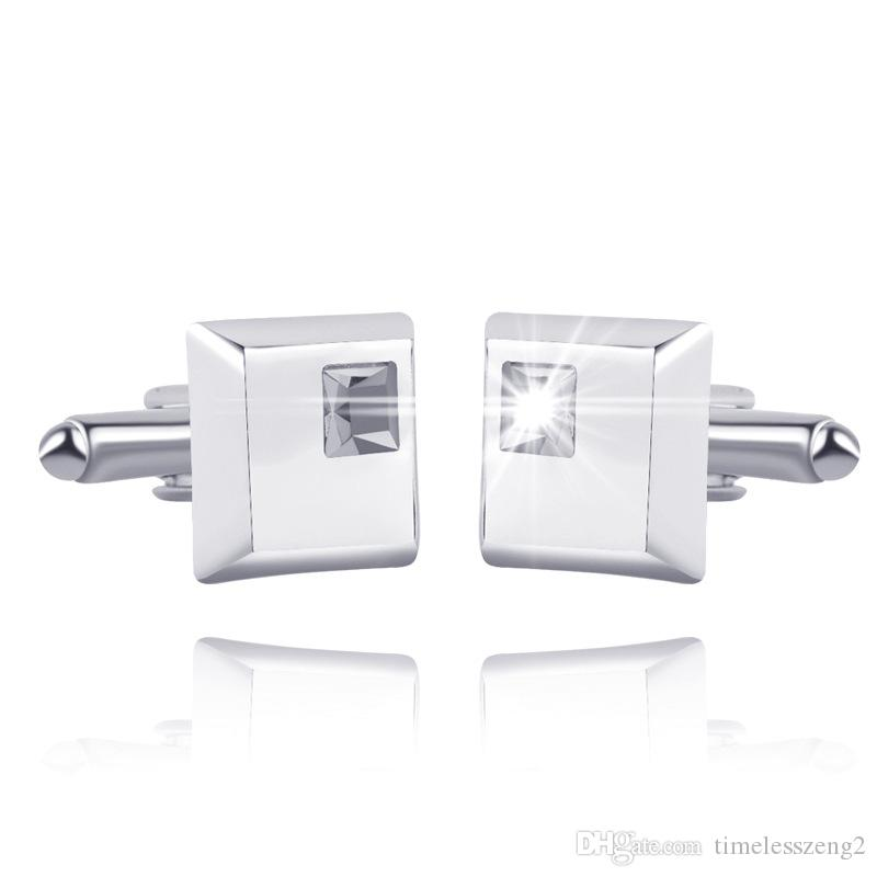 High Quality Classic Crystal Square Cuff Links Men's French Style Cufflink Shirt Cuff Links Wedding Party Jewelry