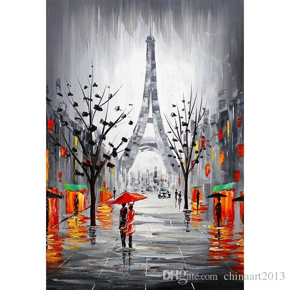 2018 handmade modern abstract city canvas picture eiffel tower paris
