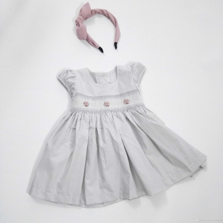 2018 Handmade Ruffles Baby Girls Dresses Short Sleeves Birthday Girl