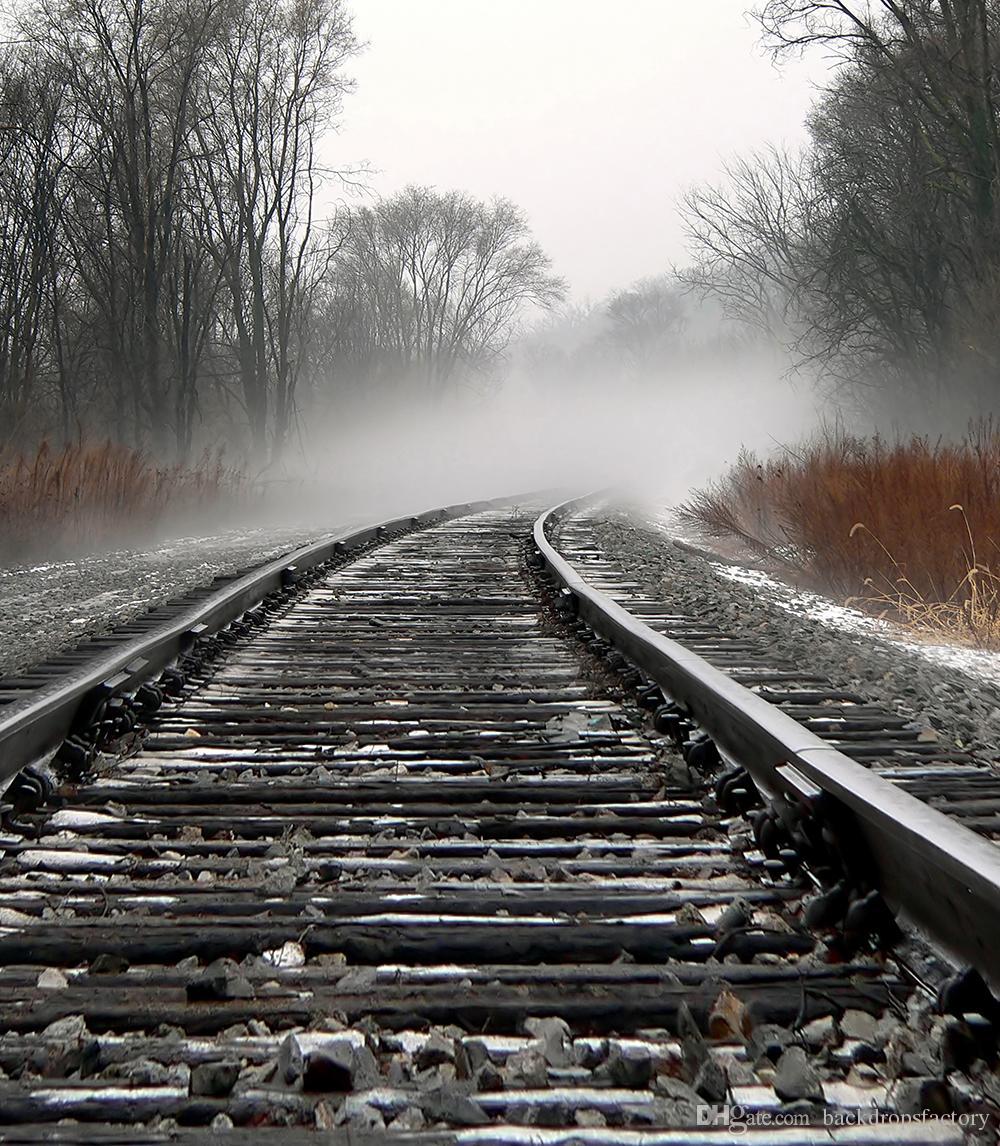 2019 5x7ft train track photo backdrops vinyl mist trees kids