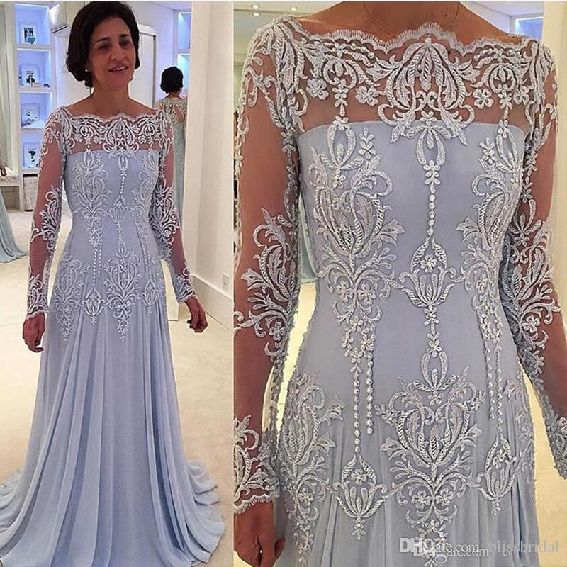 2017 Vintage Long Sleeves Mother of Bride Groom Dresses Lace Appliques Mother Dresses Floor Length
