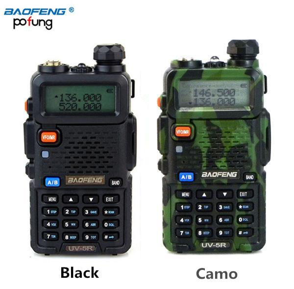 Wholesale- BAOFENG UV-5R Walkie Talkie Dual Band Radio 136-174Mhz & 400-520MHz Handheld Two Way Radio UV5R (Black/Camouflage)