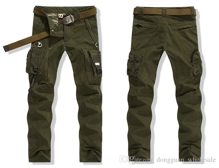 Mens PANTALONI CARGO Tuta PANTALONE TATTICO MILITARE Army Green And Black Combat Trouser Clothing For Men